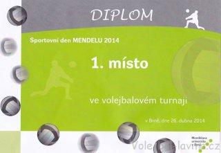 Volejbalový turnaj Mendelu - diplom